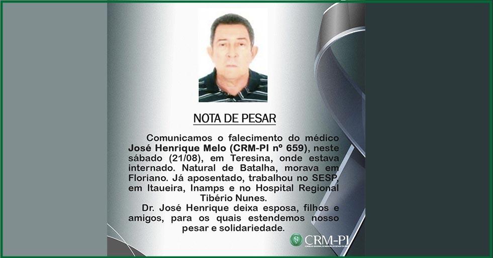 Morre o médico José Henrique Melo em Teresina